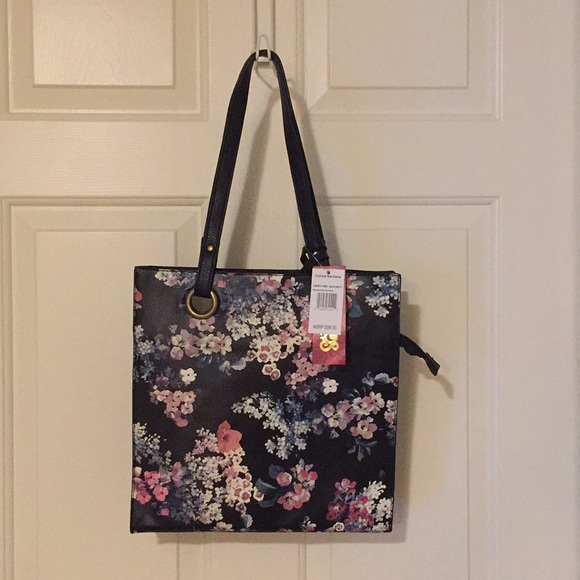 Black purse with flower detail